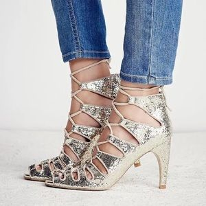 NEW 6 Free People Gold Sequin Lace Up Heel